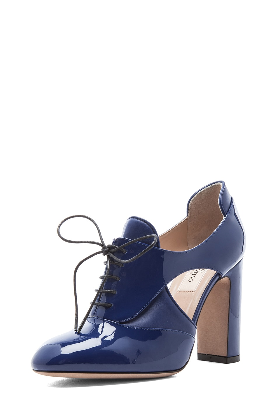 Image 2 of Valentino Tied Overlap Patent Lace Up Heels T.100 in Blue China