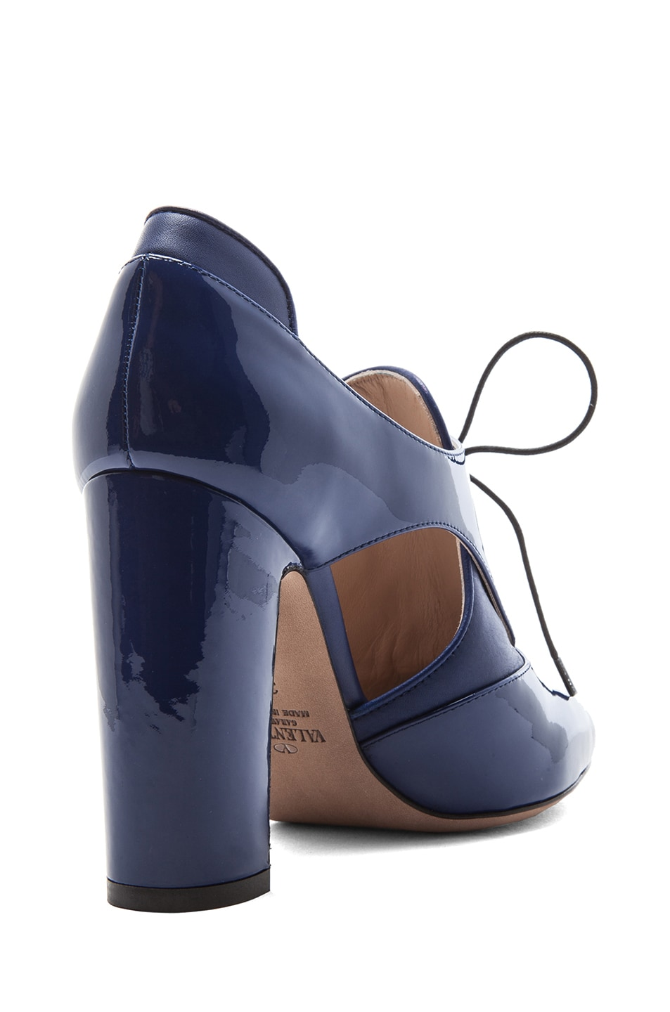 Image 3 of Valentino Tied Overlap Patent Lace Up Heels T.100 in Blue China