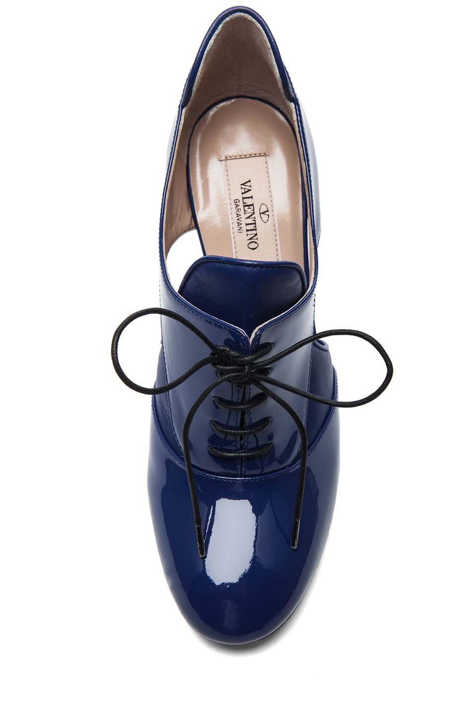 Image 4 of Valentino Tied Overlap Patent Lace Up Heels T.100 in Blue China