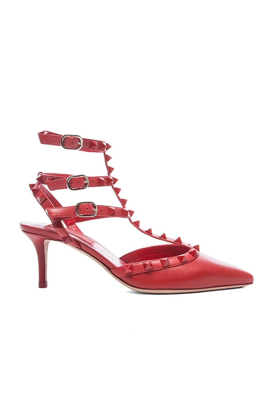 Image 1 of Valentino Rouge Rockstud Leather Slingbacks T.65 in Rosso Red