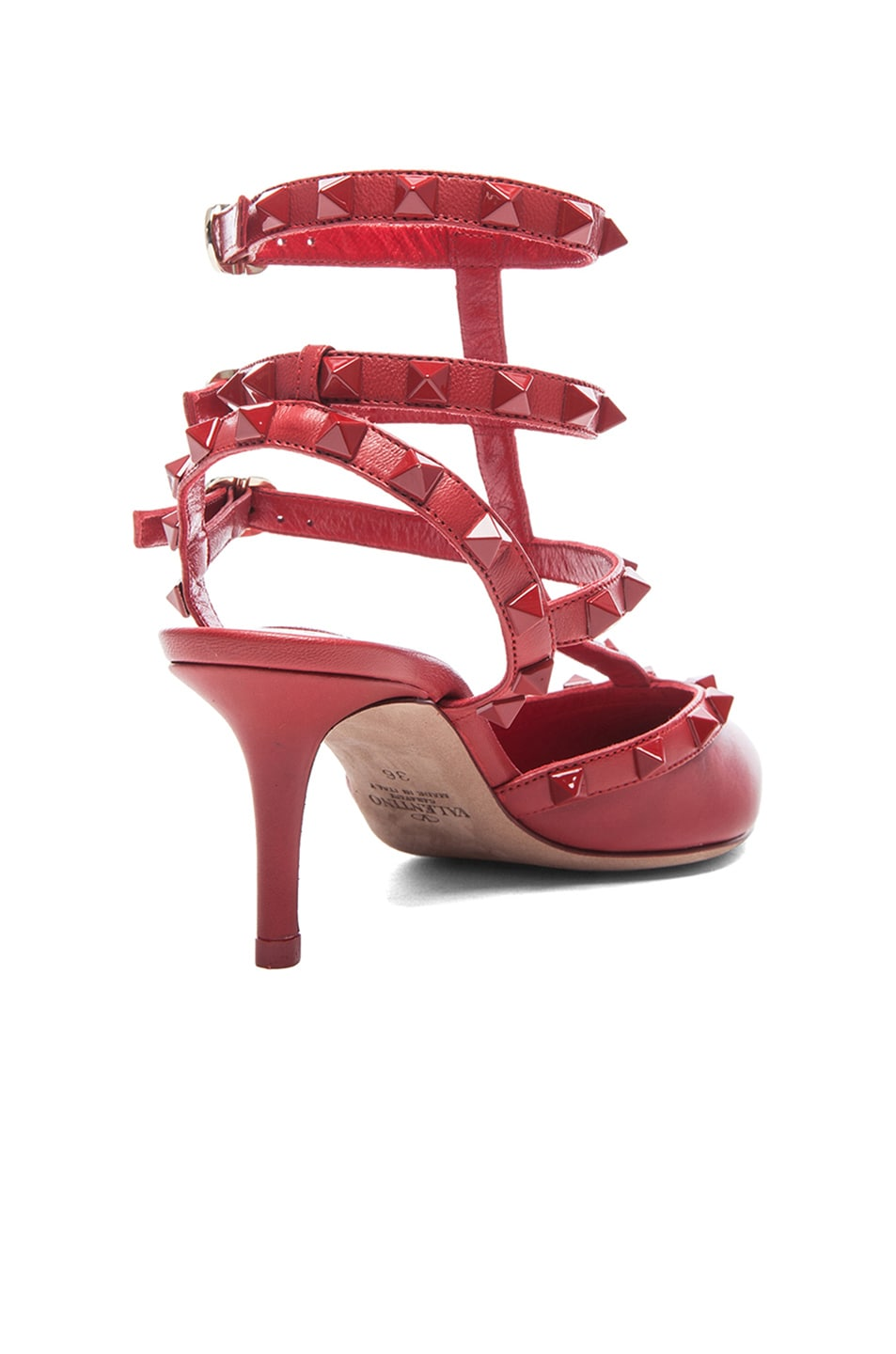 Image 3 of Valentino Rouge Rockstud Leather Slingbacks T.65 in Rosso Red