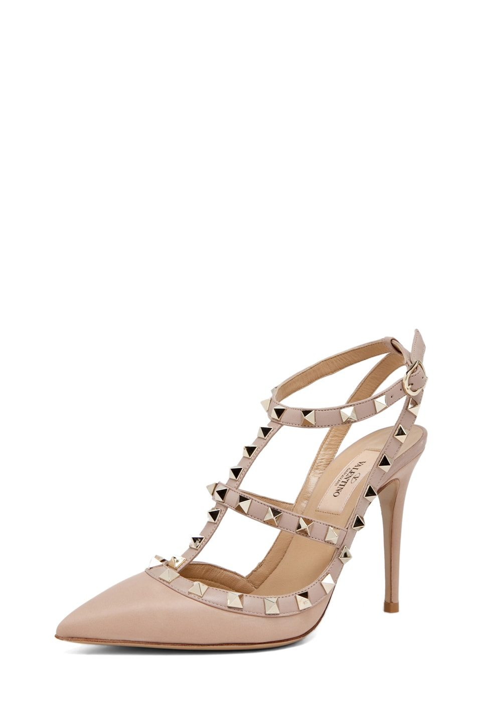 Image 2 of Valentino Rockstud Leather Slingbacks T.100 in Powder