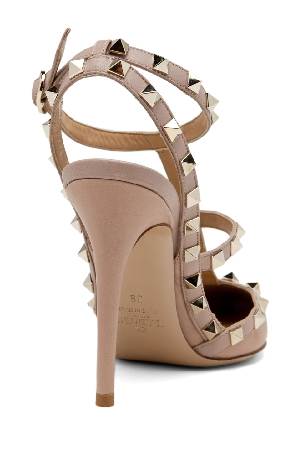 Image 3 of Valentino Rockstud Leather Slingbacks T.100 in Powder