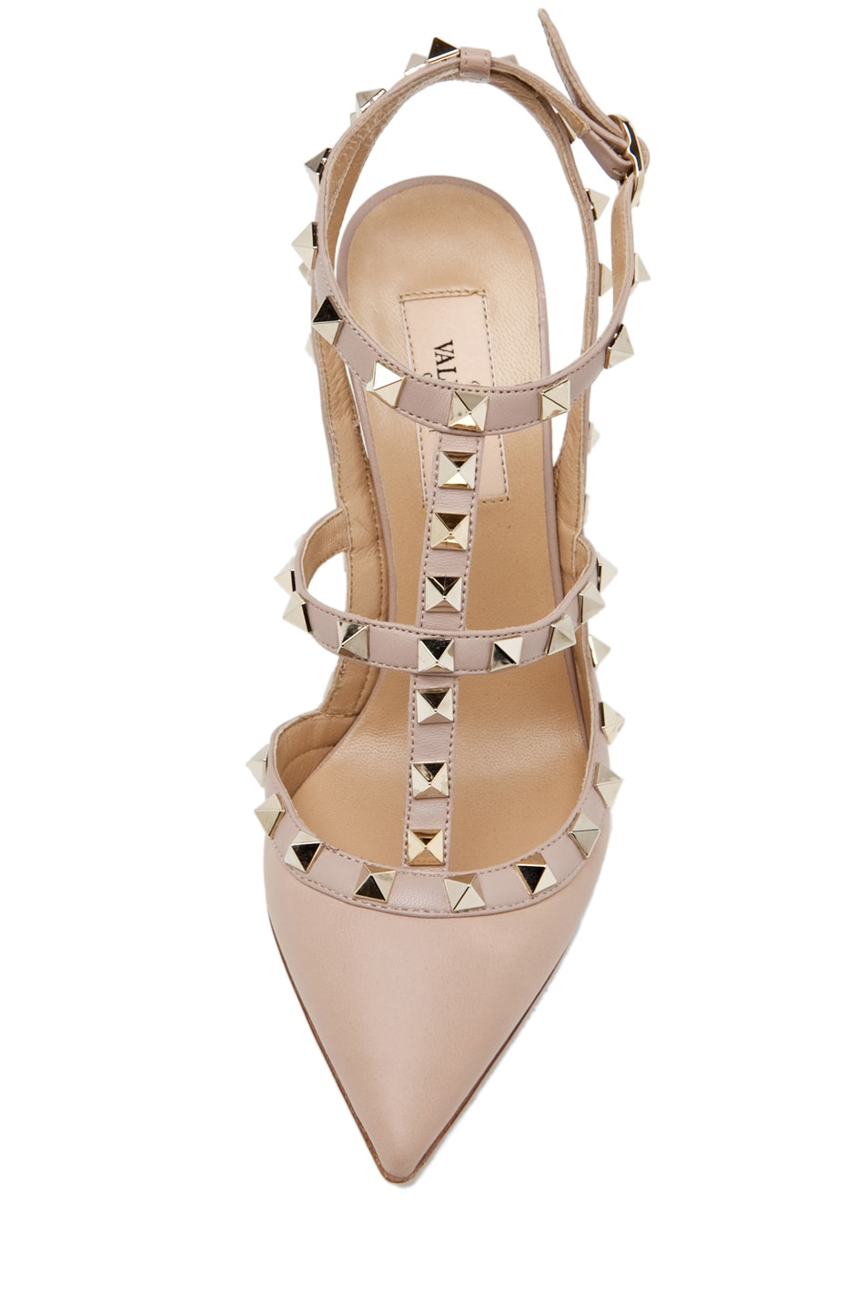 Image 4 of Valentino Rockstud Leather Slingbacks T.100 in Powder