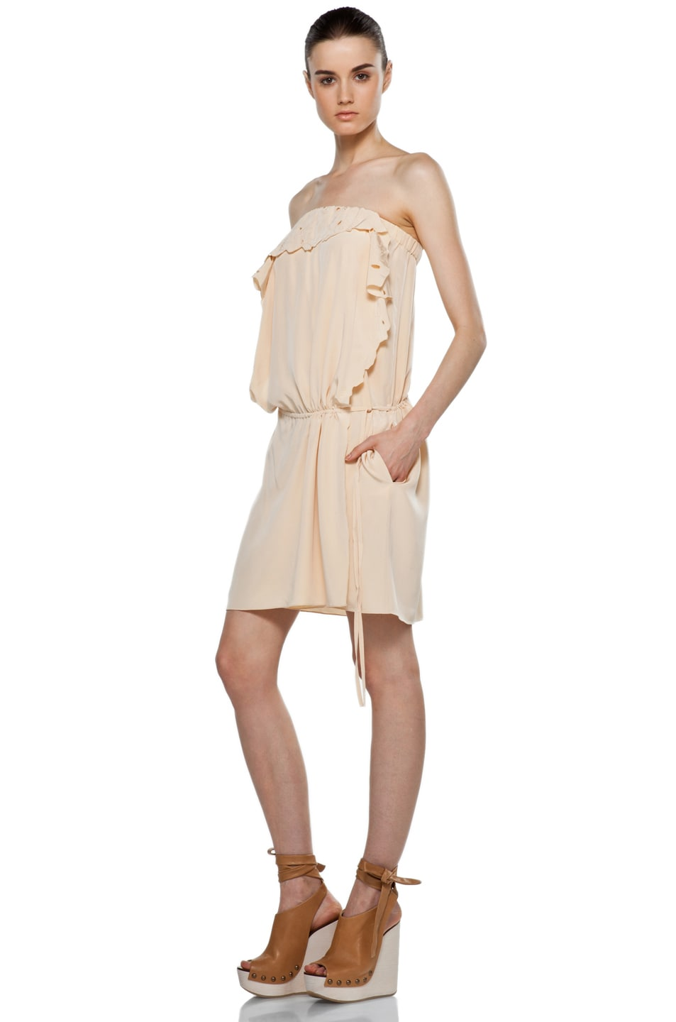 Image 2 of Vanessa Bruno Embroidered Wrap Mini Dress in Peche