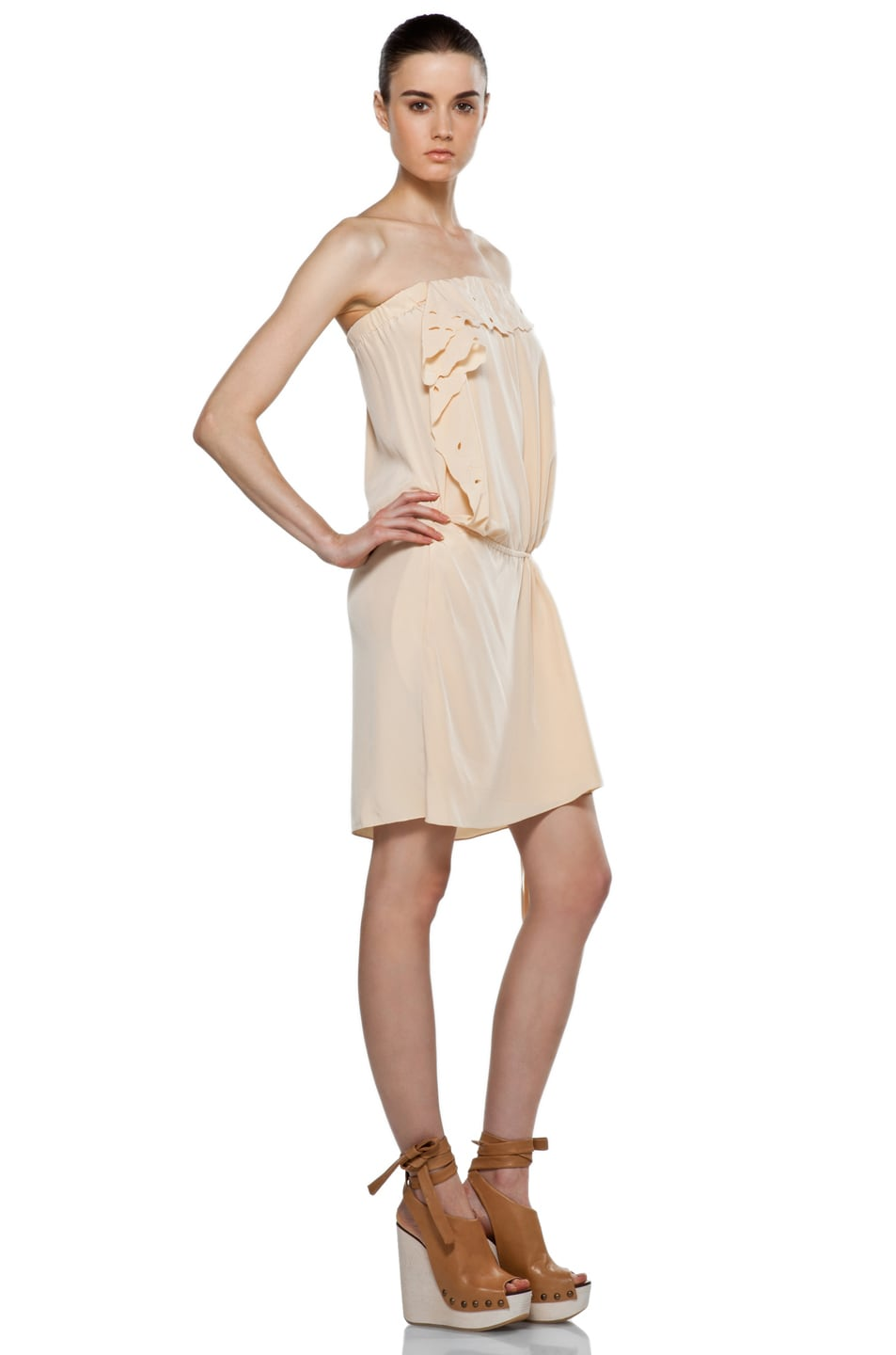Image 3 of Vanessa Bruno Embroidered Wrap Mini Dress in Peche
