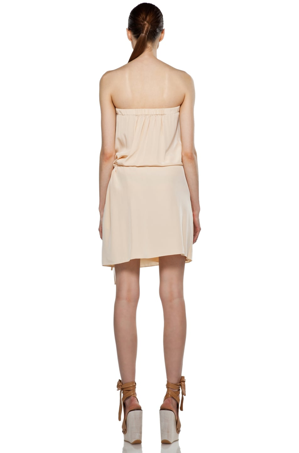 Image 4 of Vanessa Bruno Embroidered Wrap Mini Dress in Peche