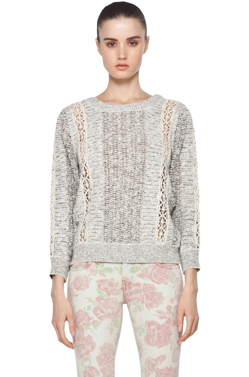 Image 1 of Vanessa Bruno Crochet Pullover in Ecru