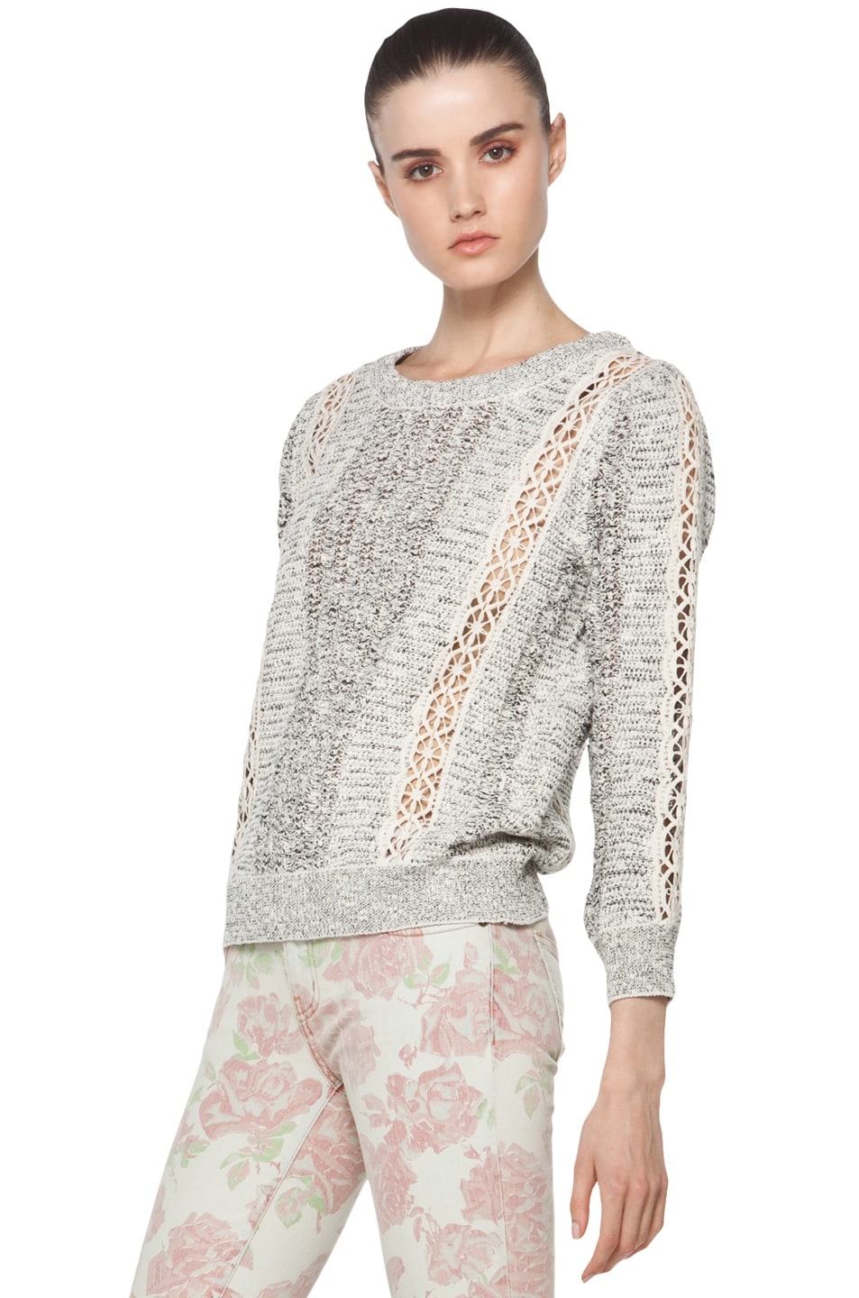 Image 2 of Vanessa Bruno Crochet Pullover in Ecru