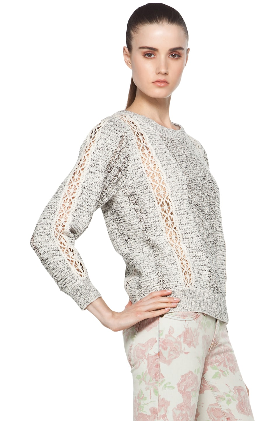 Image 3 of Vanessa Bruno Crochet Pullover in Ecru
