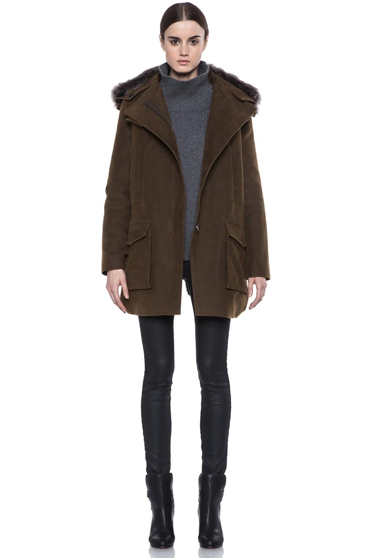 Image 1 of Vanessa Bruno Cotton Coat with Detachable Fur in Khaki