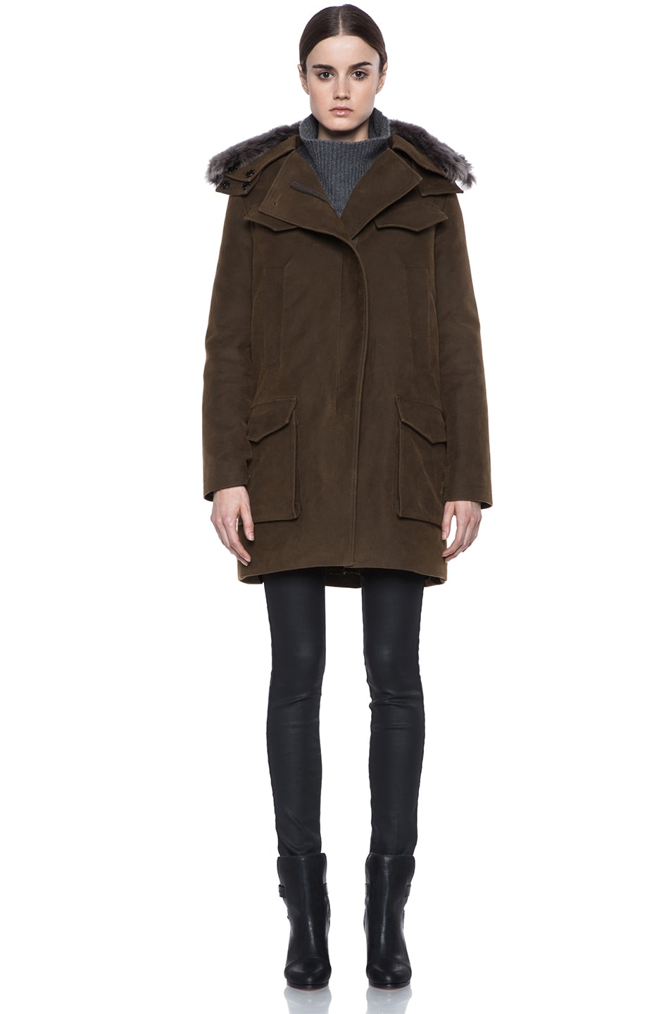 Image 2 of Vanessa Bruno Cotton Coat with Detachable Fur in Khaki
