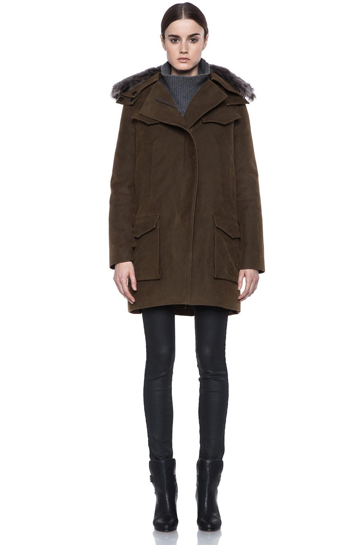 Image 2 of Vanessa Bruno Cotton Coat with Detachable Fur in Khaki