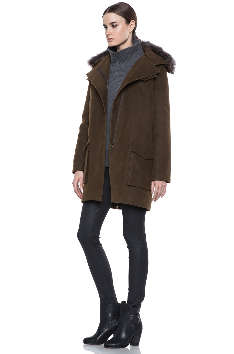 Image 3 of Vanessa Bruno Cotton Coat with Detachable Fur in Khaki