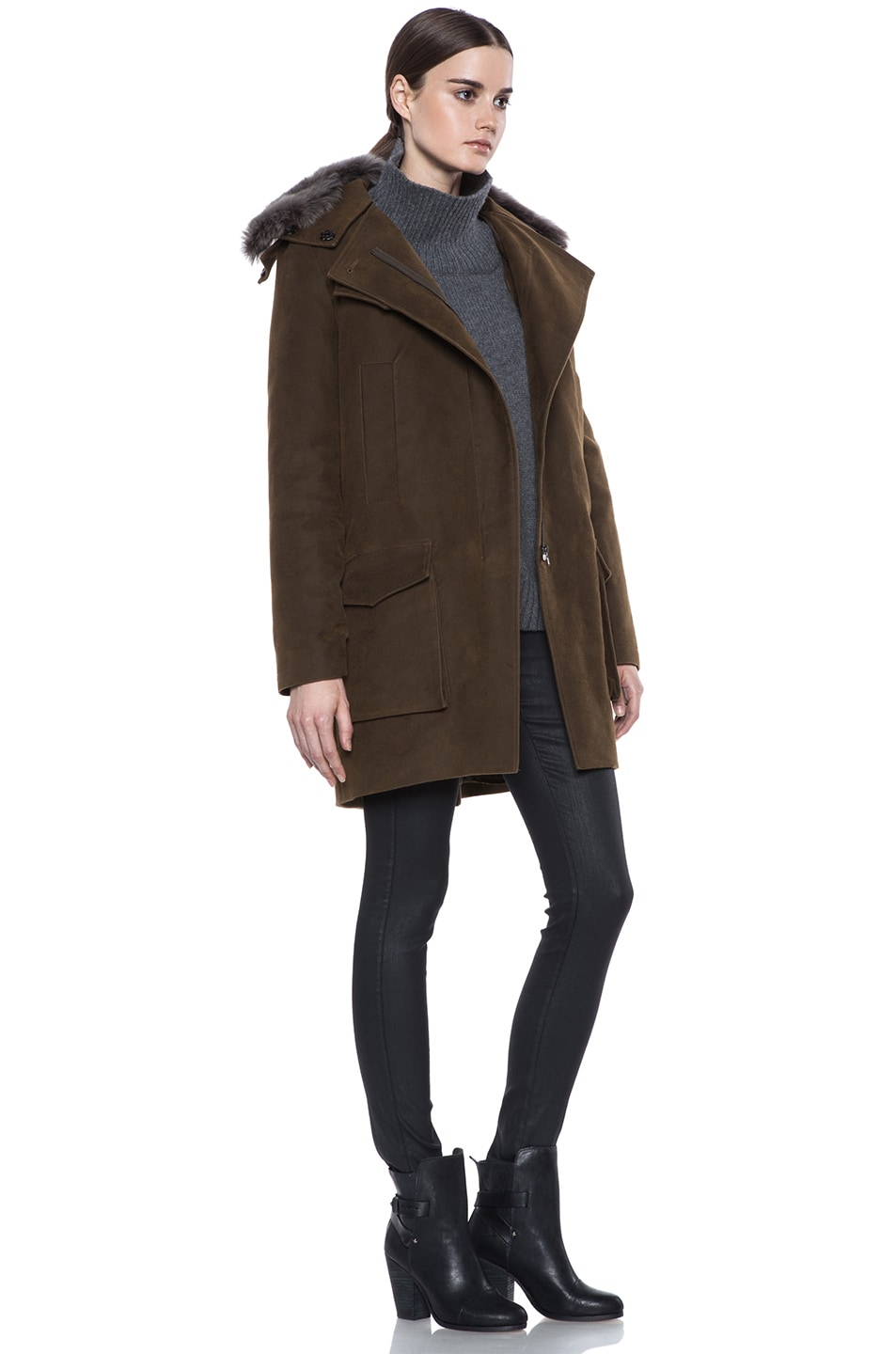 Image 4 of Vanessa Bruno Cotton Coat with Detachable Fur in Khaki