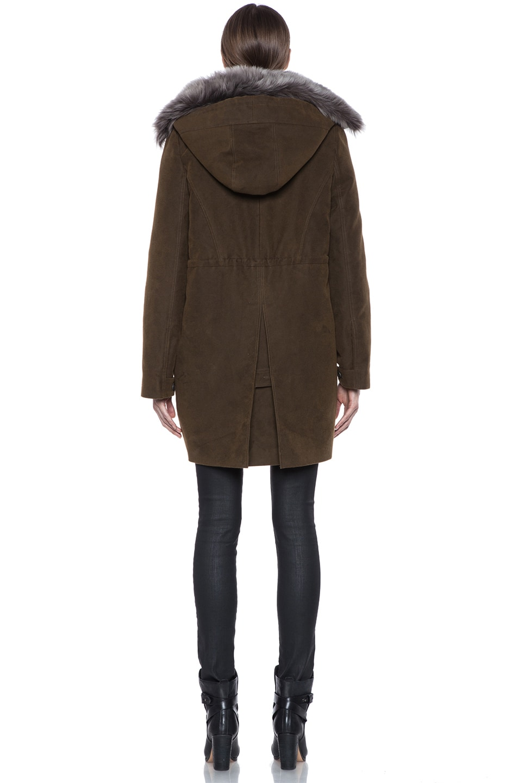 Image 5 of Vanessa Bruno Cotton Coat with Detachable Fur in Khaki