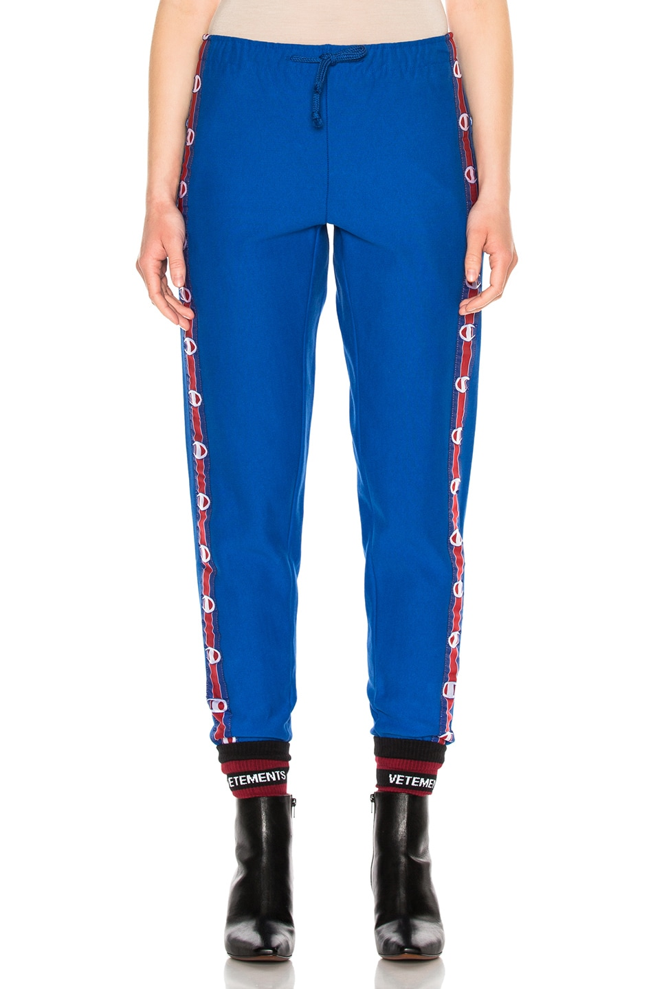 Image 2 of VETEMENTS x Champion Knee Shaped Tape Sweatpants in Blue