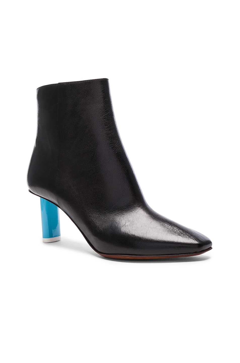 Image 2 of VETEMENTS Leather Ankle Boots in Black & Blue