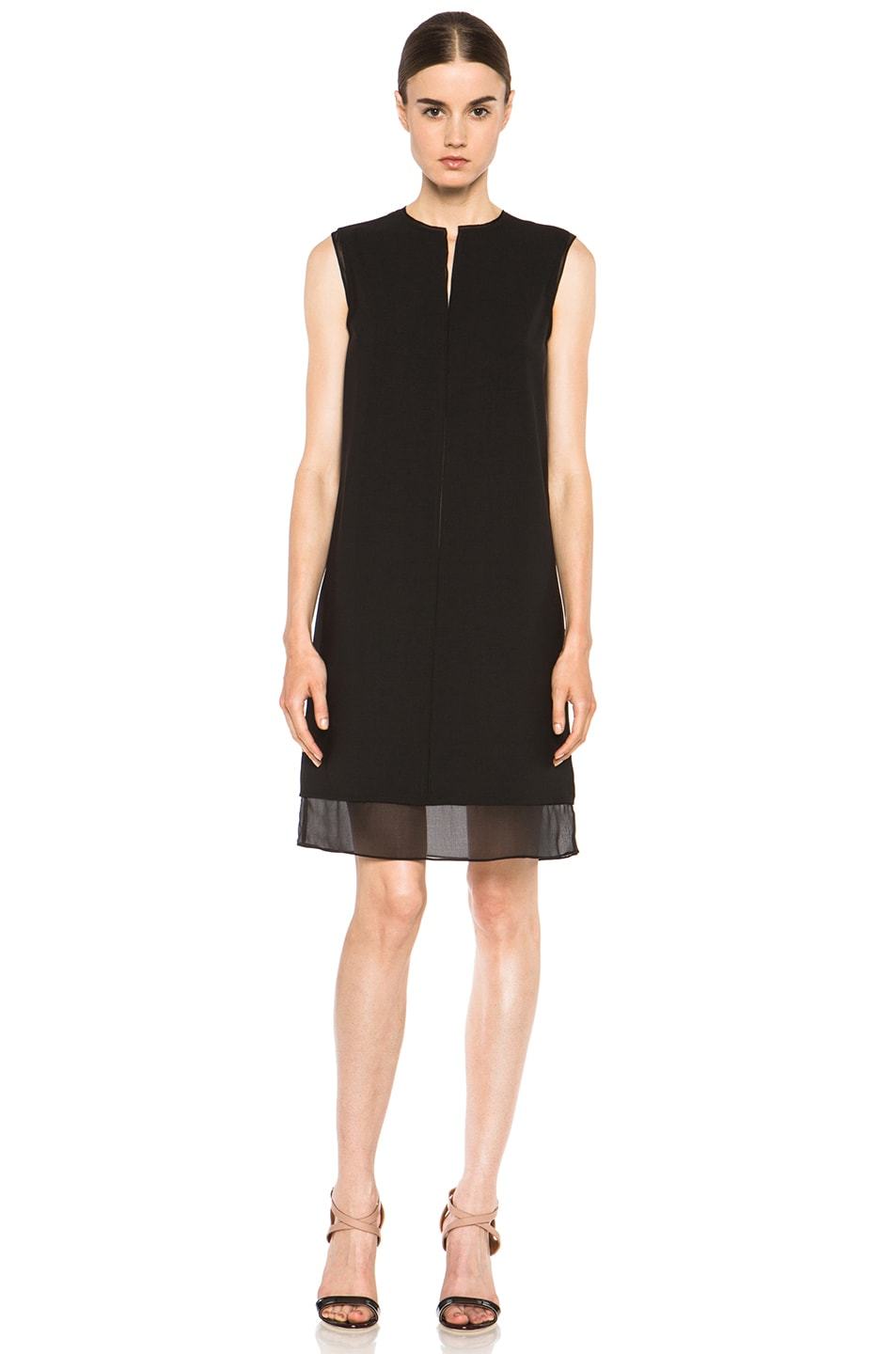 Image 1 of Vince Split Neck Silk Dress in Black