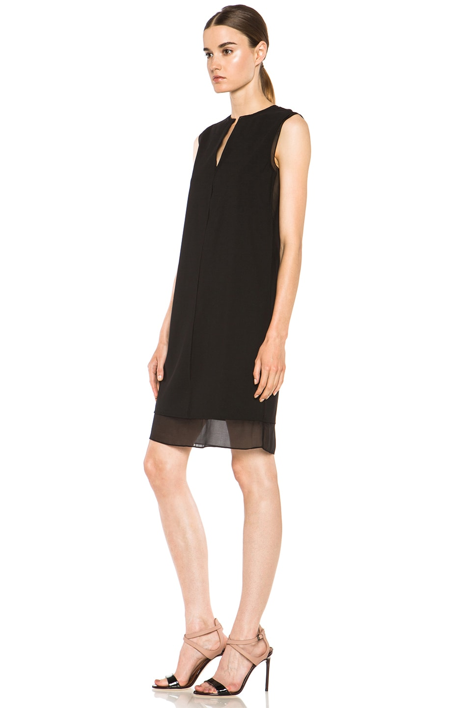 Image 2 of Vince Split Neck Silk Dress in Black