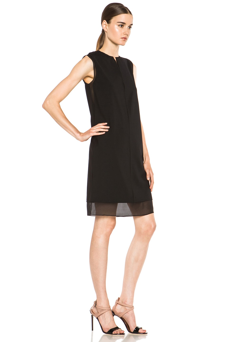 Image 3 of Vince Split Neck Silk Dress in Black