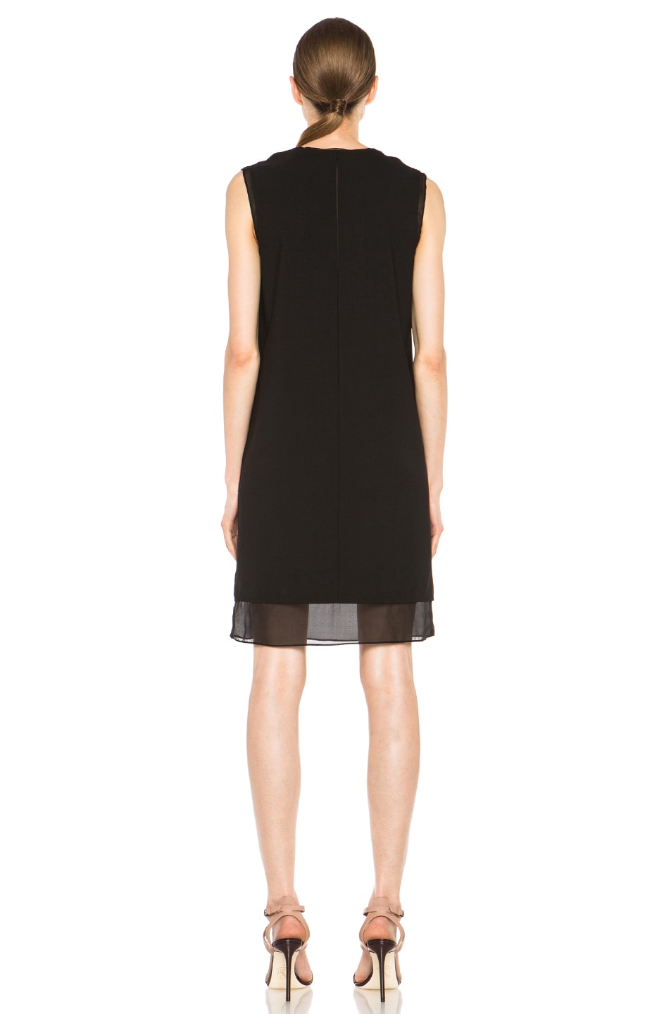 Image 4 of Vince Split Neck Silk Dress in Black