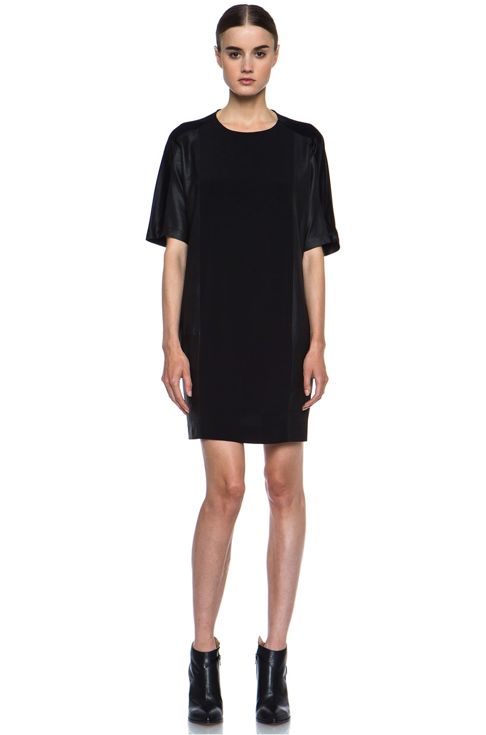 Image 1 of Vince Texture Viscose & Leather Block Dress in Black