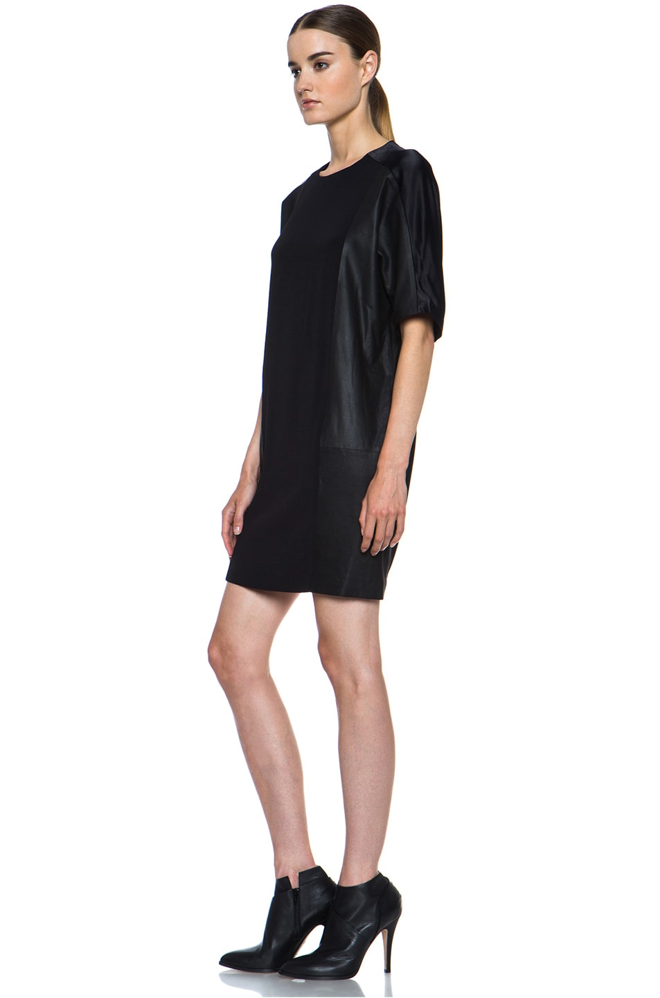 Image 2 of Vince Texture Viscose & Leather Block Dress in Black