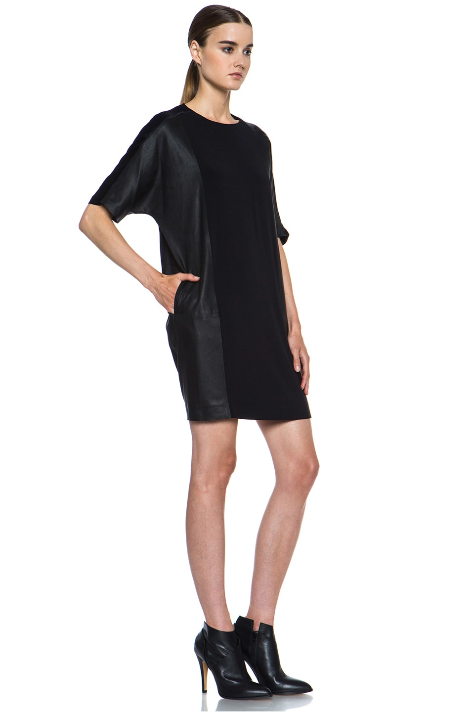 Image 3 of Vince Texture Viscose & Leather Block Dress in Black