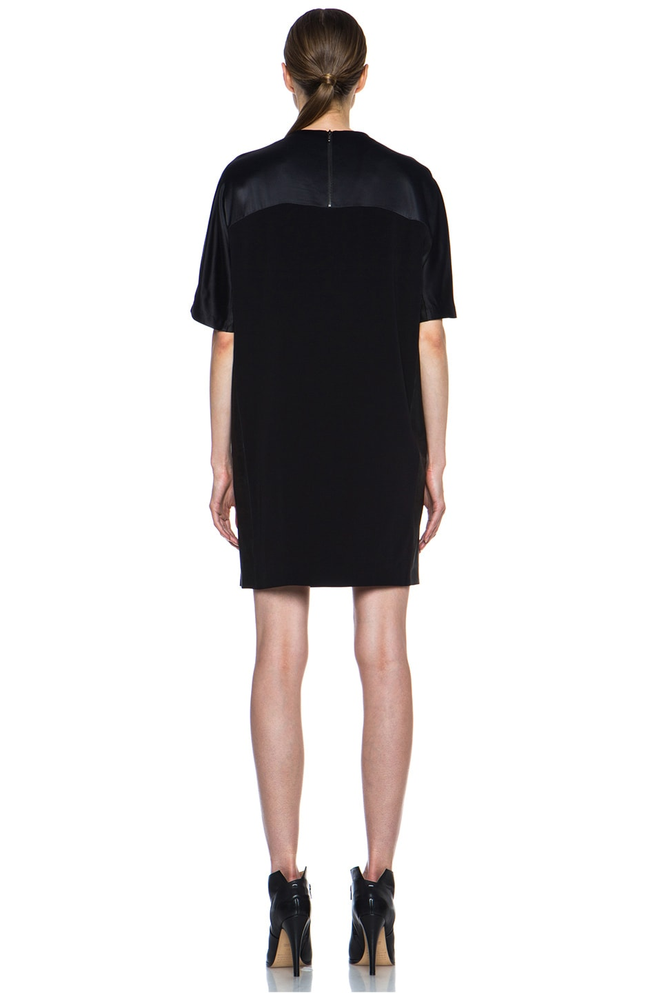 Image 4 of Vince Texture Viscose & Leather Block Dress in Black
