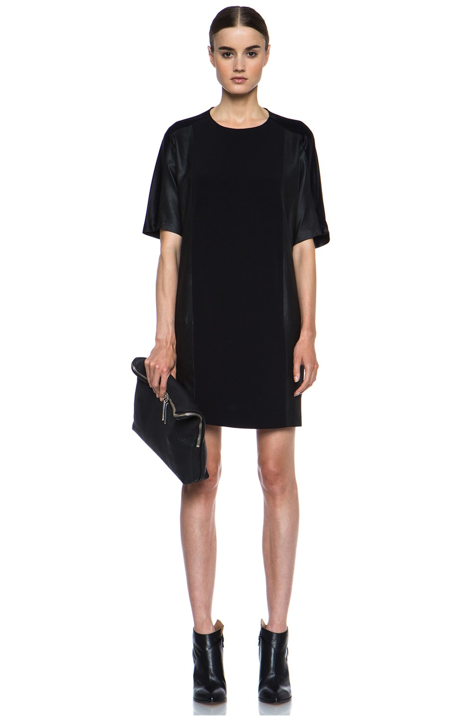 Image 5 of Vince Texture Viscose & Leather Block Dress in Black
