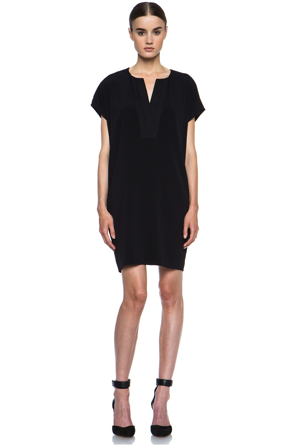 Image 1 of Vince Pleat Front Dress in Black