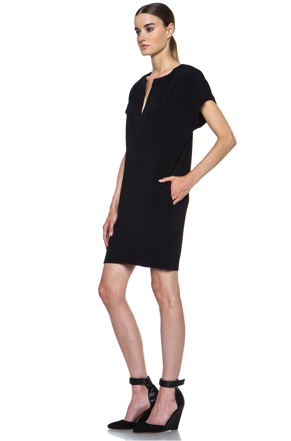 Image 2 of Vince Pleat Front Dress in Black