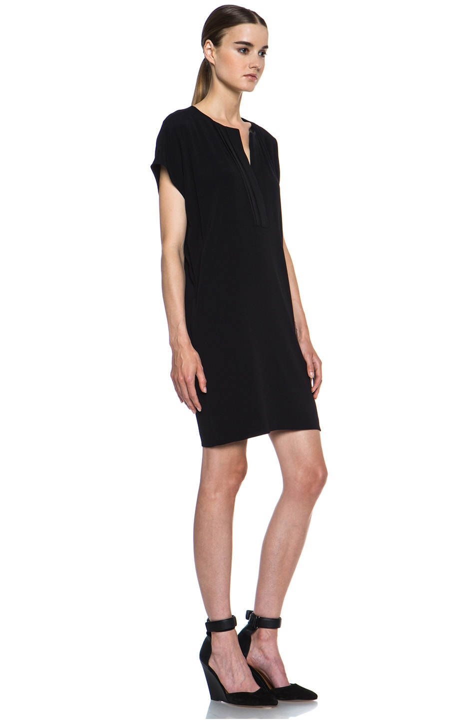 Image 3 of Vince Pleat Front Dress in Black