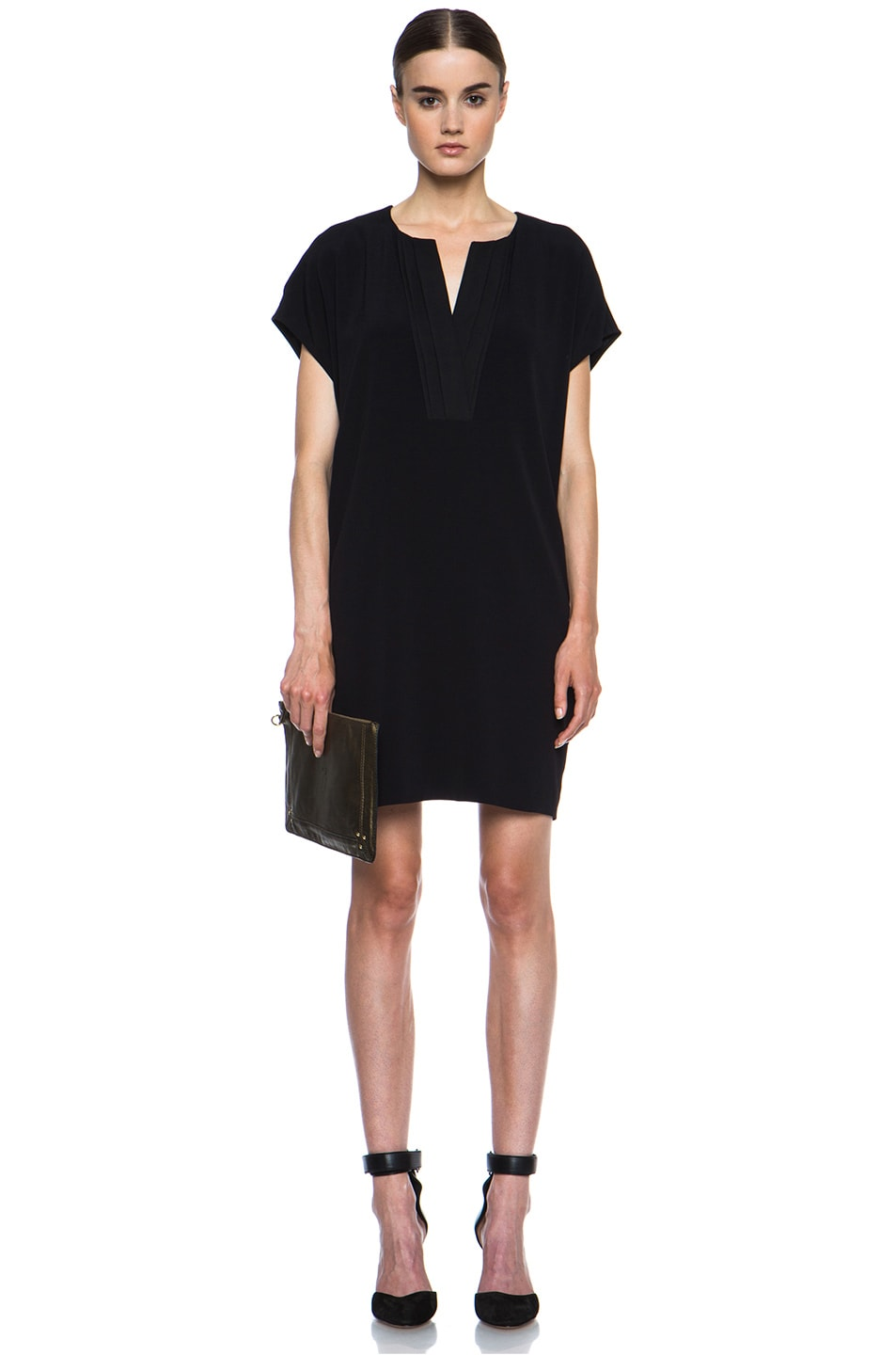 Image 5 of Vince Pleat Front Dress in Black