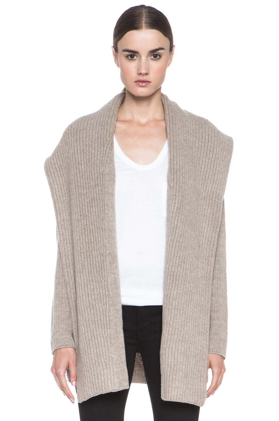 Image 1 of Vince Rib Shawl Sweater Coat in Heather Oatmeal