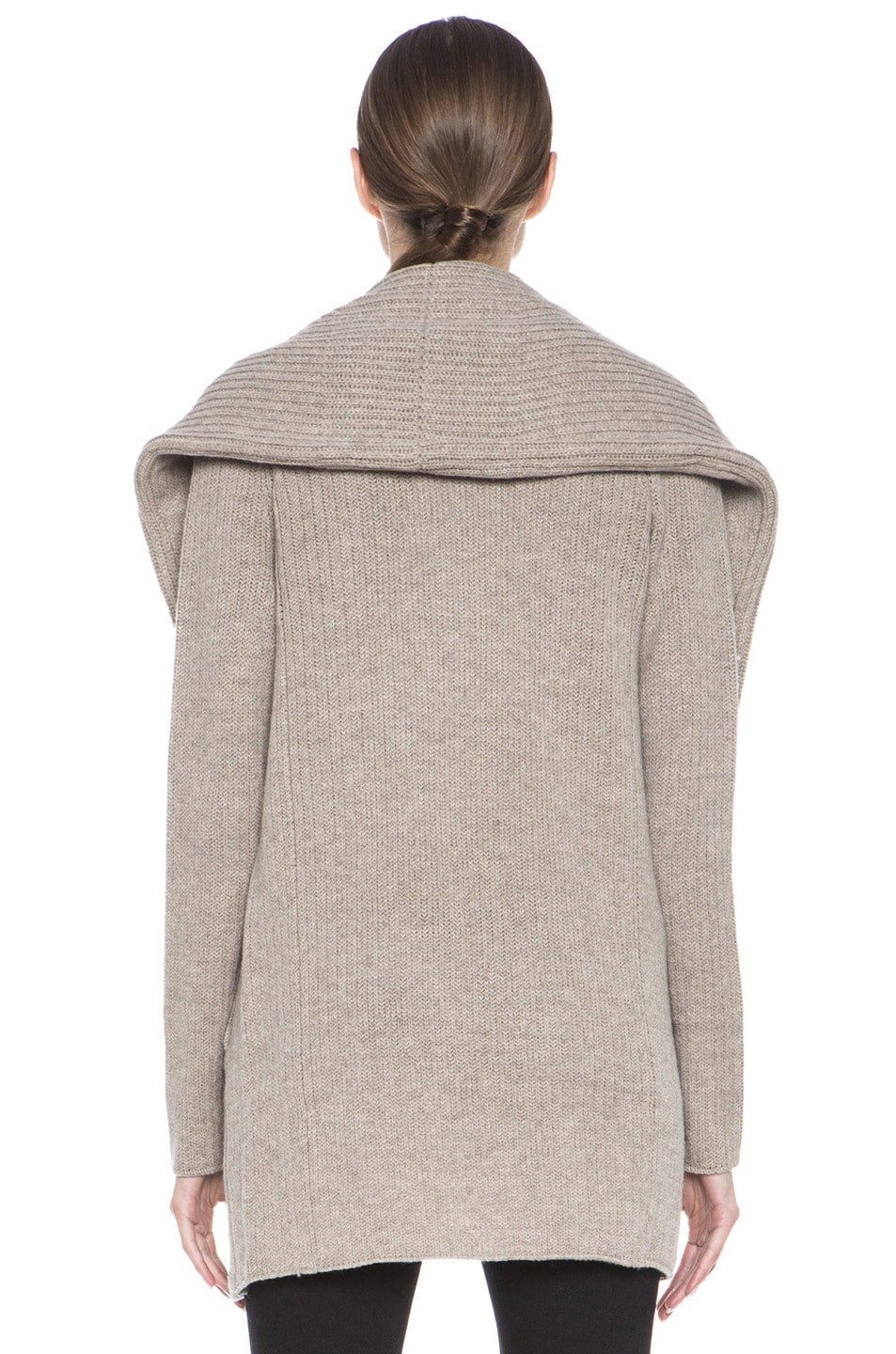 Image 4 of Vince Rib Shawl Sweater Coat in Heather Oatmeal