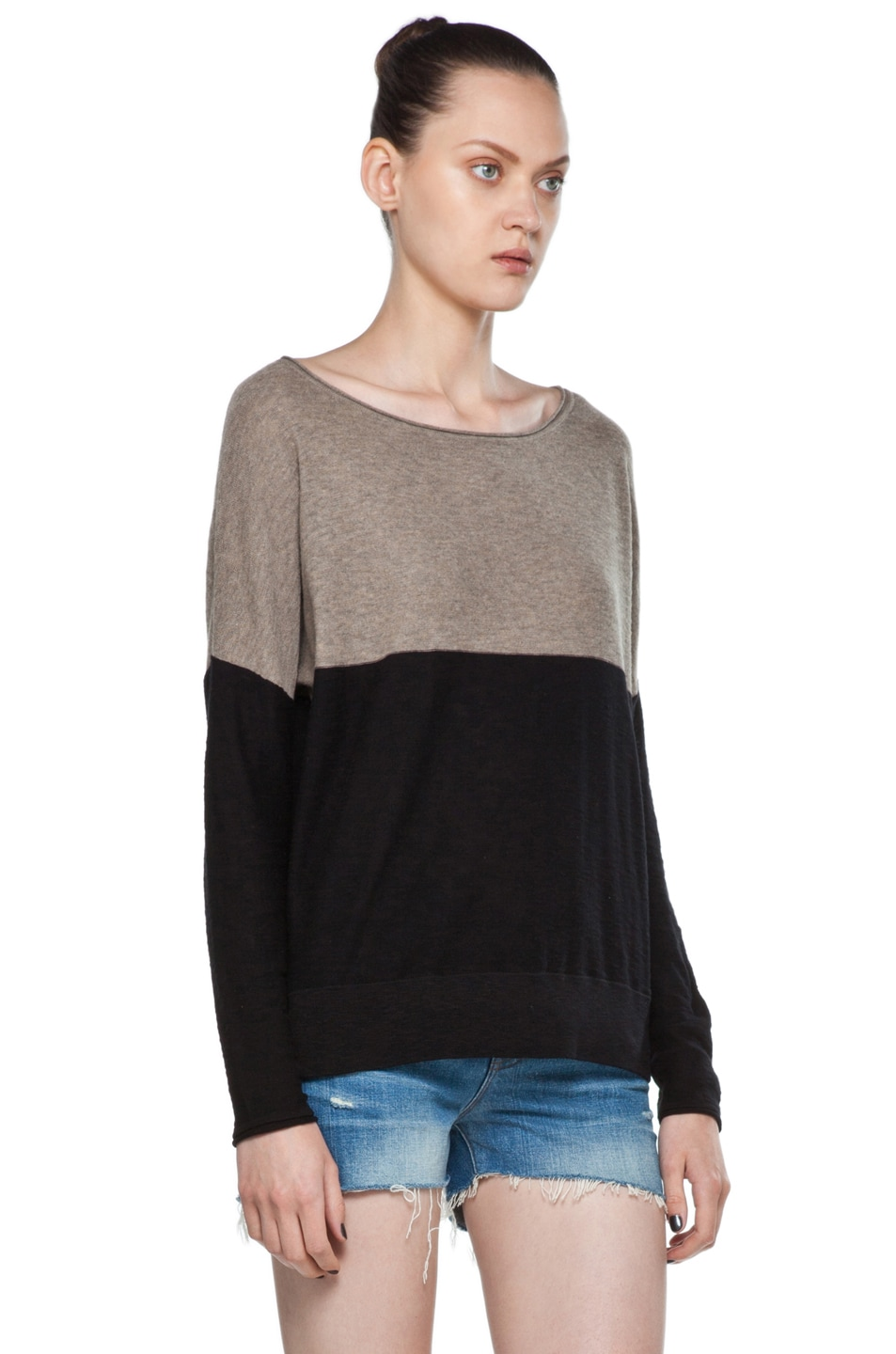 Image 3 of Vince Color Block Sweater in Black & Cleats
