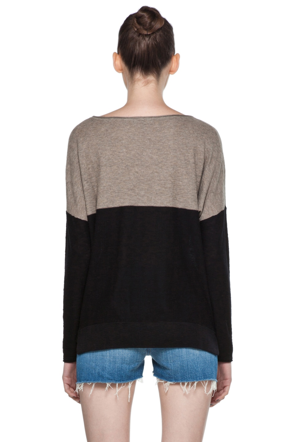 Image 4 of Vince Color Block Sweater in Black & Cleats