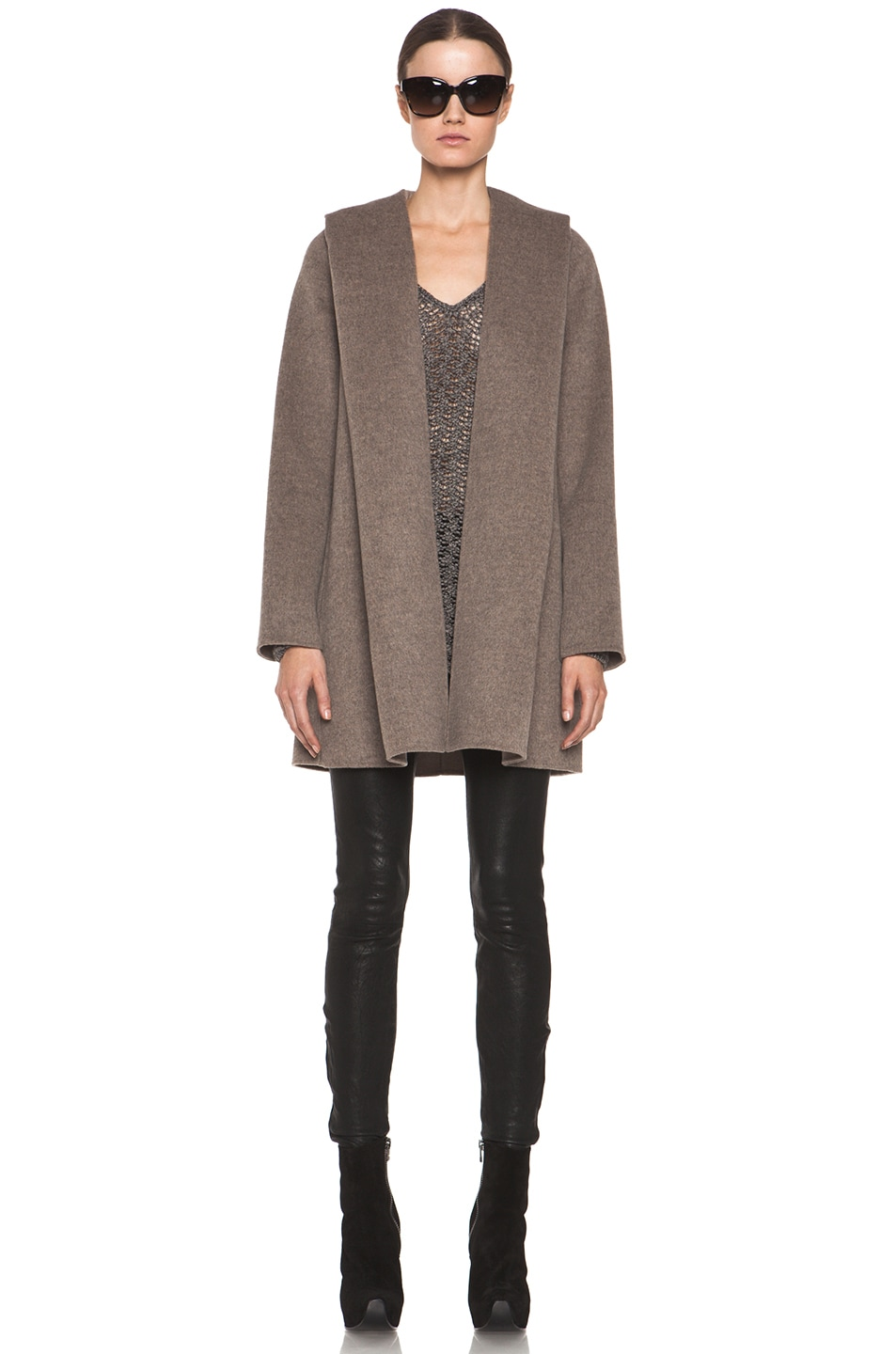 Image 1 of Vince Drape Hooded Coat in Heather Maple