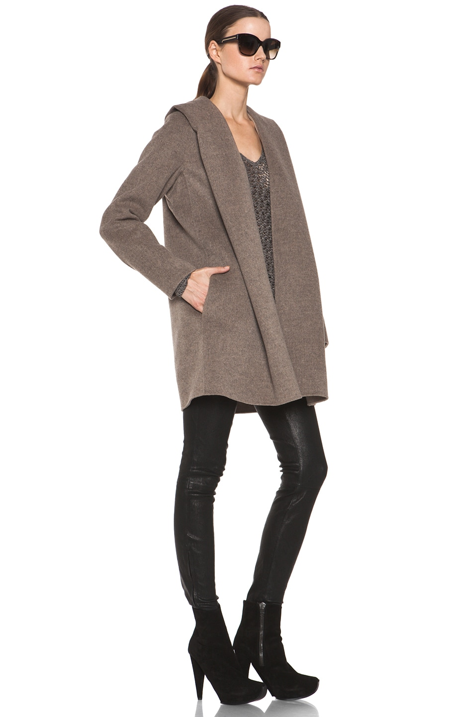 Image 3 of Vince Drape Hooded Coat in Heather Maple