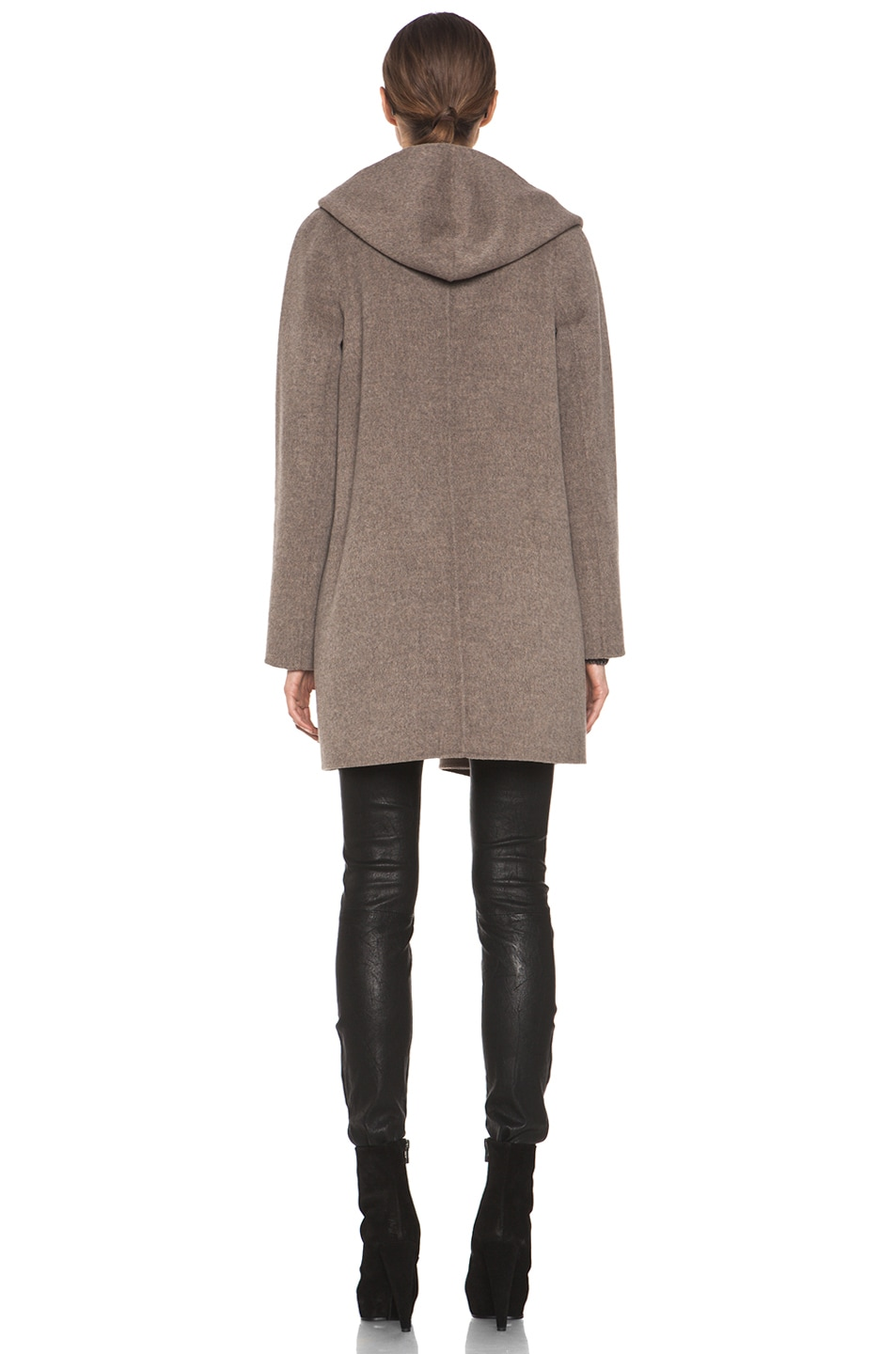 Image 4 of Vince Drape Hooded Coat in Heather Maple