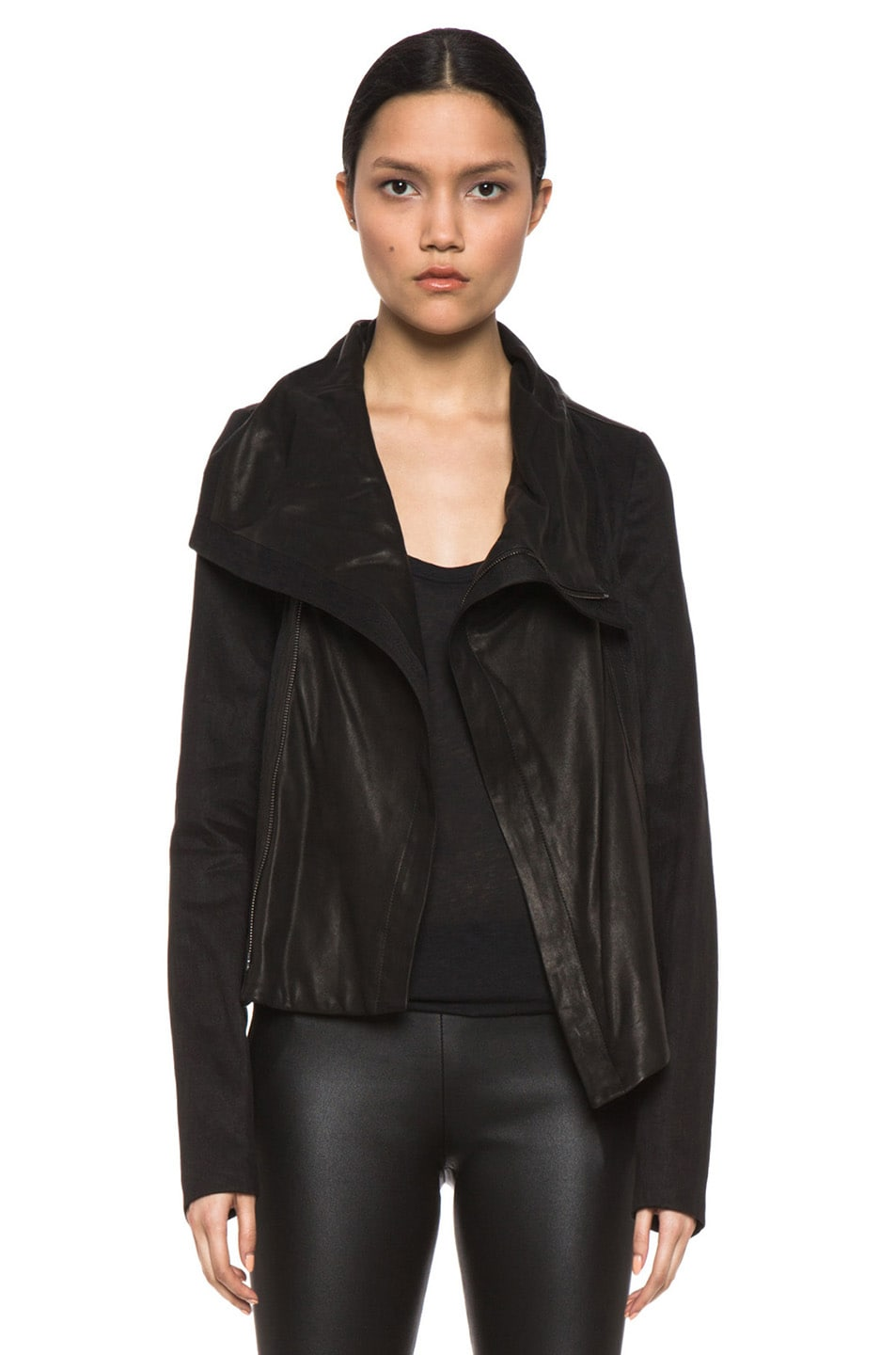 Image 1 of Vince Shawl Collar Leather Jacket