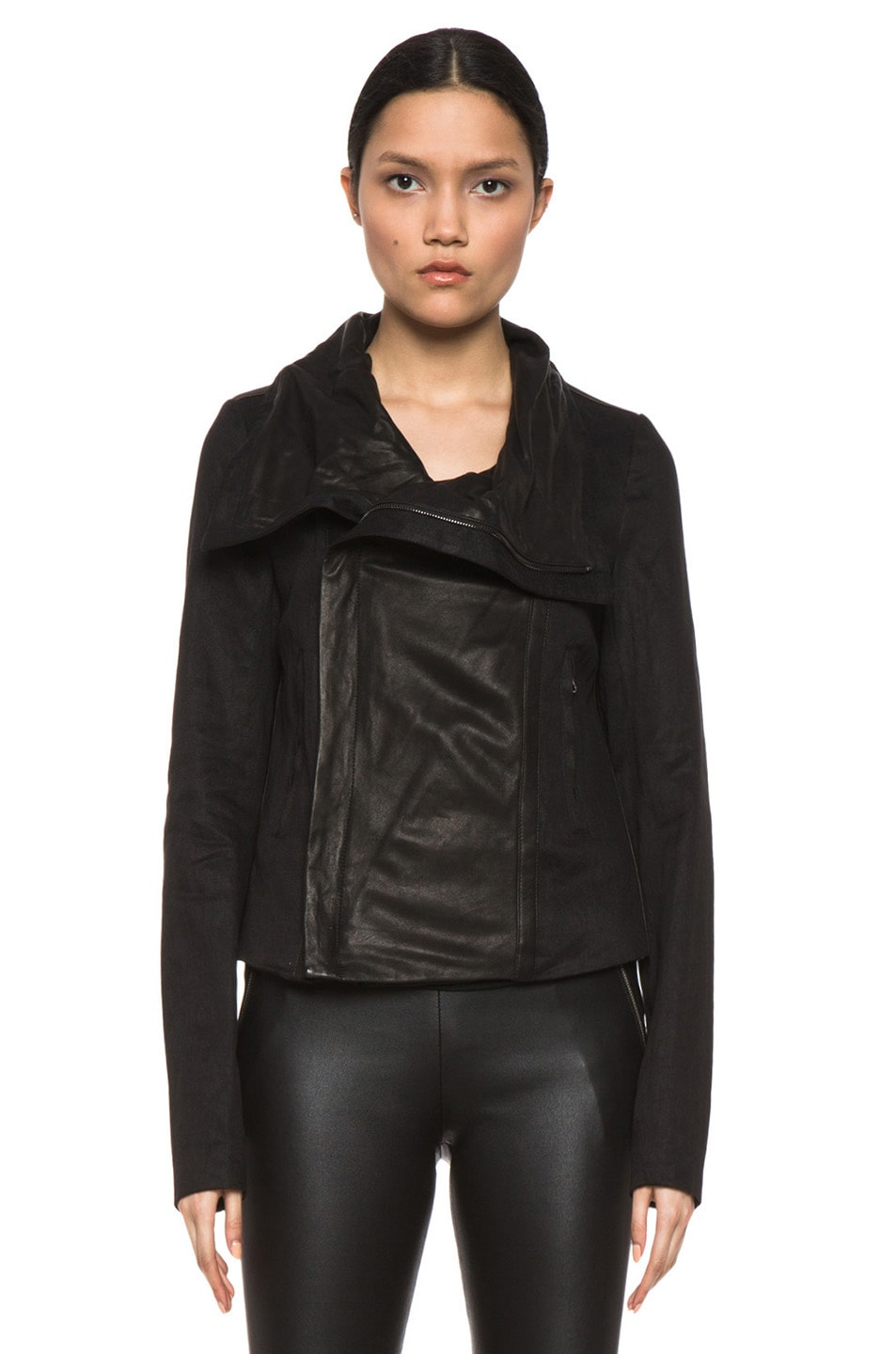Image 2 of Vince Shawl Collar Leather Jacket