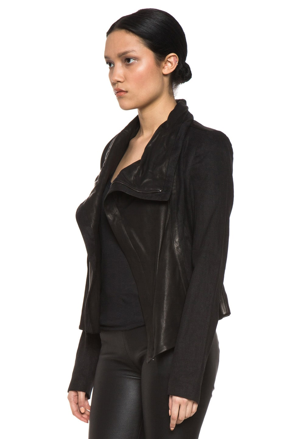 Image 3 of Vince Shawl Collar Leather Jacket