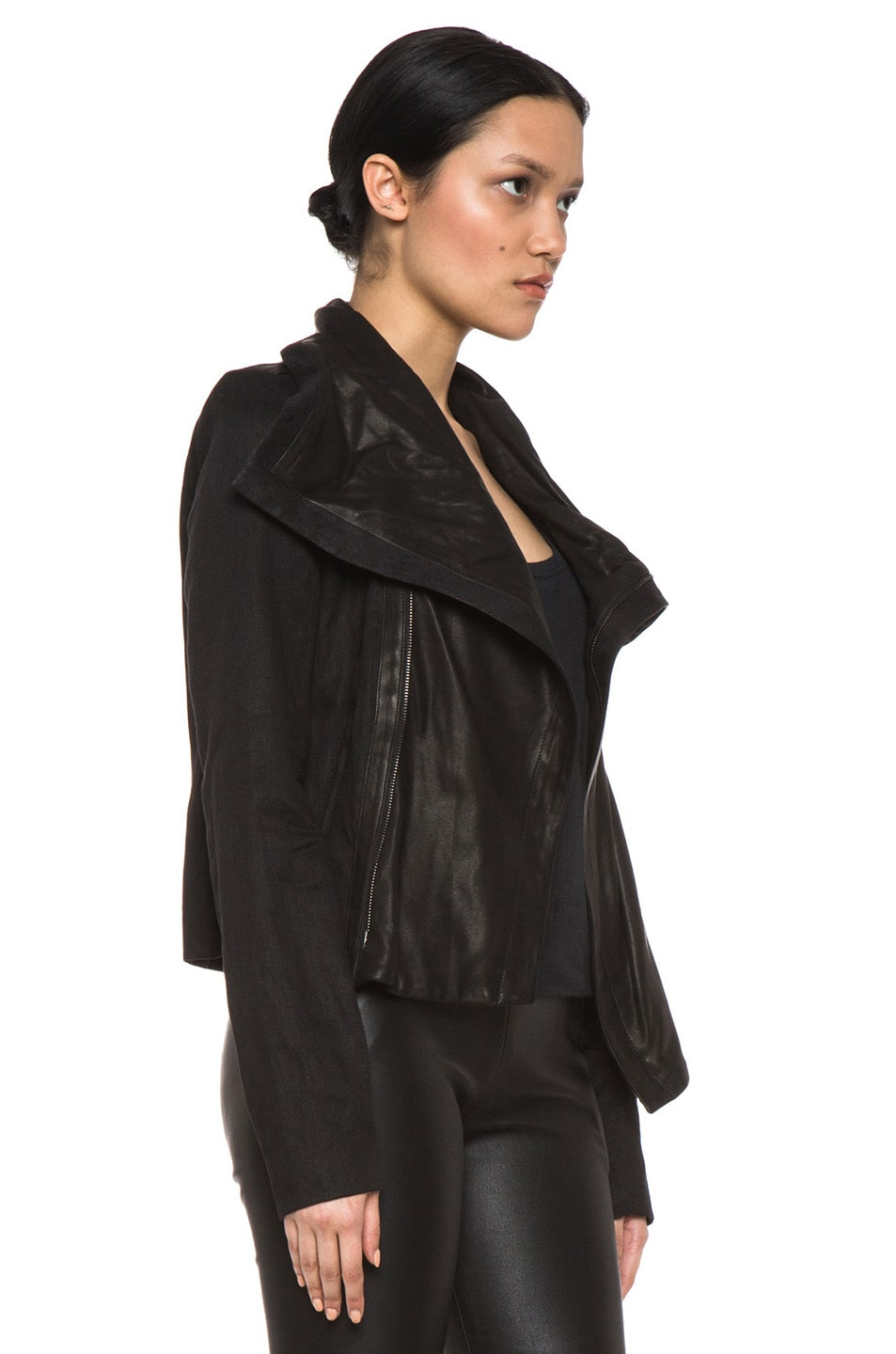 Image 4 of Vince Shawl Collar Leather Jacket