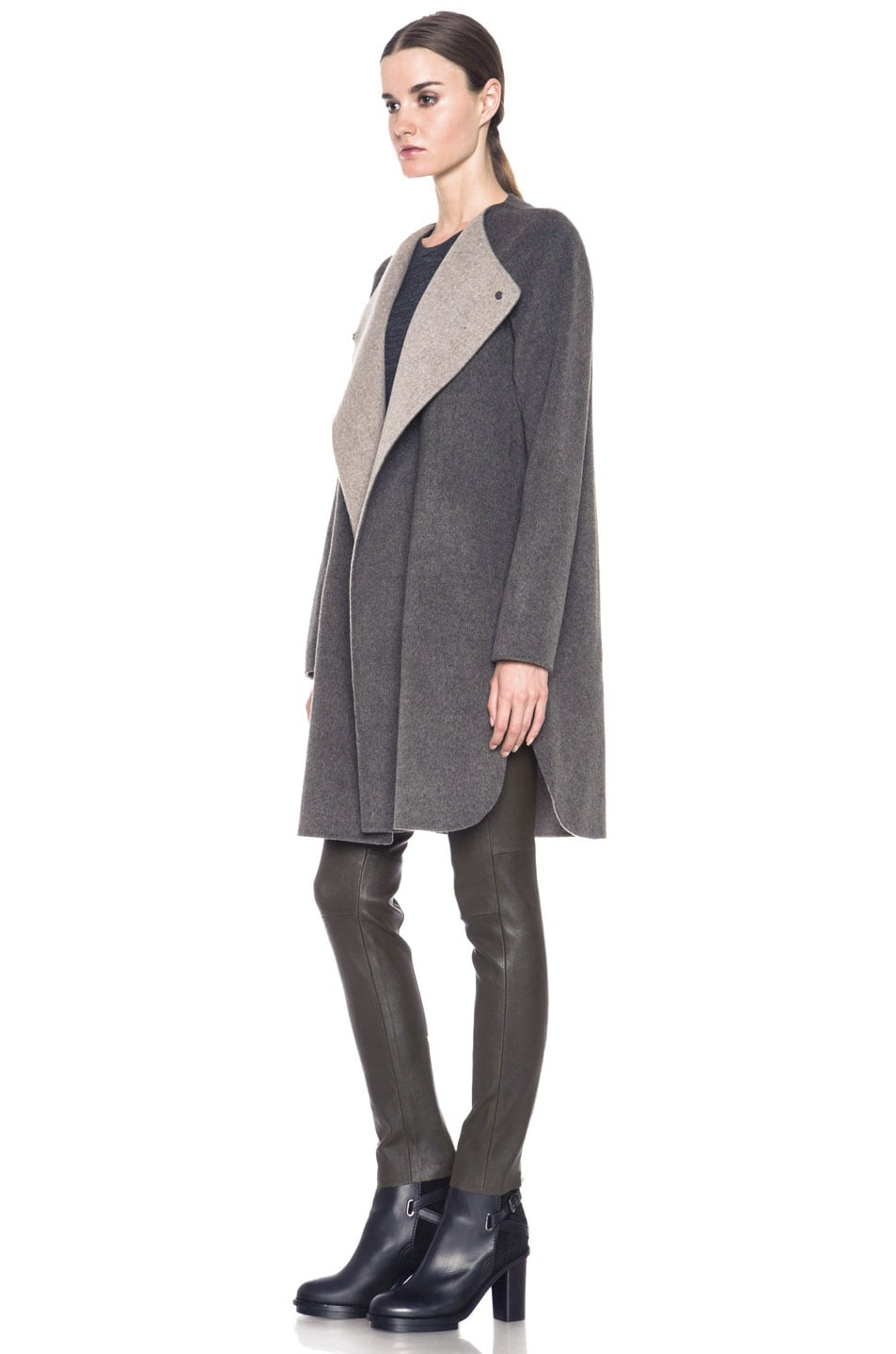Image 3 of Vince Asymmetric Shirt Tail Coat in Heather Maple