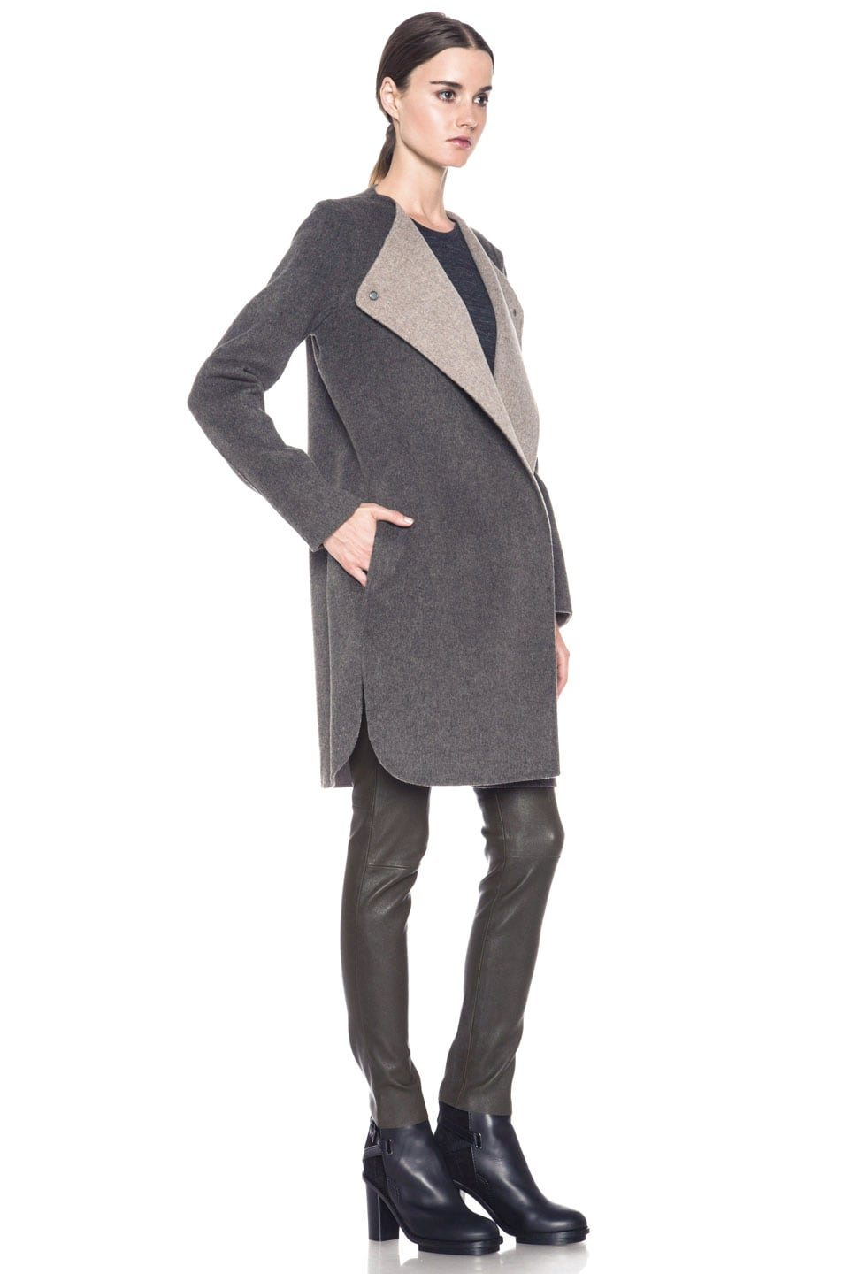 Image 4 of Vince Asymmetric Shirt Tail Coat in Heather Maple