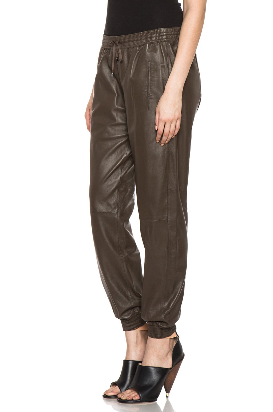 Image 2 of Vince Leather Jogging Pant in Olive