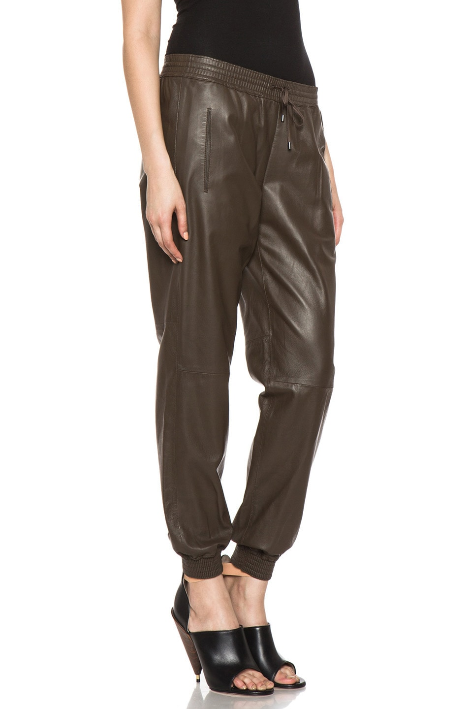 Image 3 of Vince Leather Jogging Pant in Olive